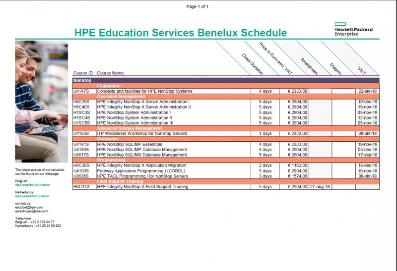 De HPE NonStop trainingen voor de komende maanden.